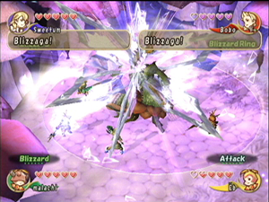 Final Fantasy Crystal Chronicles - Four team members in battle