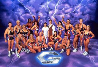 Gladiators (1995 Australian TV series) - The gladiators with hosts Mike Hammond and Kimberley Joseph in the second series.