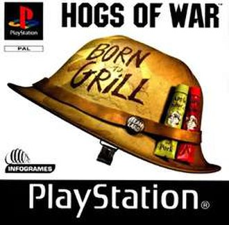 Hogs of War - PAL cover for the PlayStation release