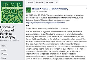 Hypatia transracialism controversy - Image: Hypatia associate editors' apology, 1 May 2017