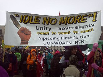 Idle No More - Members of the Nipissing First Nation from southern Ontario and local non-Aboriginal supporters in Ottawa