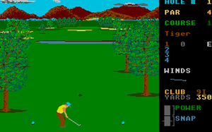 Leader Board - Teeing off on the first hole (Atari ST).
