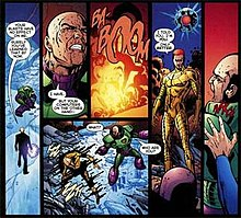 Multiple comic panels of Alexander Luthor confronting his father
