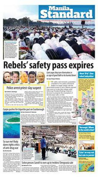 Manila Standard - Front page dated June 16, 2018