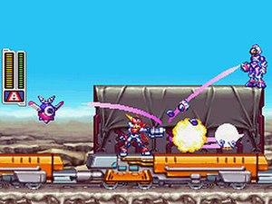 Mega Man ZX Advent - A screenshot depicting Grey battling on the train to Legion.