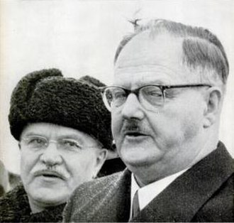 Allied-occupied Austria - April 1955. Molotov (left) meets Raab (right) in Moscow.