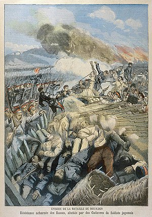 The Japanese assault the Russian ramparts in the battle of Mukden
