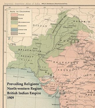 Line of Control - Predominant religions in northwestern British India, 1909