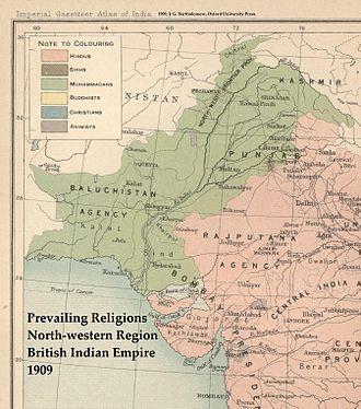 Line of Control - Predominant religions in northwestern British India, 1909