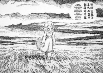 "Nausicaä of the Valley of the Wind (manga) - The Dorok prophecy: ""And that one shall come to you garbed in raiment of blue and descending upon a field of gold..."""