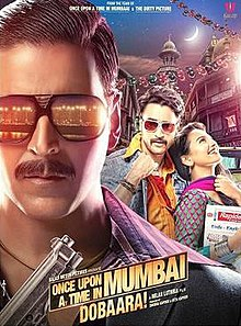 The bust of the title character, Shoaib Khan (Akshay Kumar) wearing black full frame sunglasses consisting the reflection from streetlights dotting the coast line of the city and a black suit and a purple and violet striped shirt underneath holding a gun in his hand occupies a significant portion of the poster, mostly left and lower-front. In this case the city being Mumbai, or Bombay as it was known in the period which the film is set in. The other male lead of the film is facing front wearing a denim jacket, saffron shirt and stylized sunglasses holding his shirt-collar up with a woman breaking into laughter resting on his chest looking upwards. The backdrop consists of verandahs of chawls of Mumbai and a waxing crescent moon in the sky. The title logo of the film and credits below.
