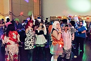 Otakuthon - Attendees on the dancefloor at the 2011 Halloween Party