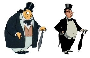 Penguin (character) - Penguin, as he appears in Batman: The Animated Series (left) and The New Batman Adventures (right).