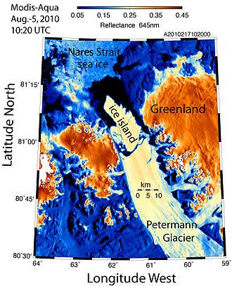 Petermann Glacier - Ice calving from Petermann Glacier in 2010.