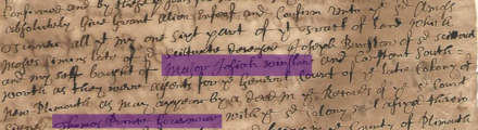 An early Plymouth deed mentioning Governor Thomas Prence and Josiah Winslow, courtesy of Shiwei Jiang Plymouth deed mentioning Josiah Winslow and Thomas Prence.png