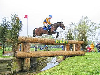 Kentucky Three-Day Event - Rider and horse negotiating a rather difficult jump