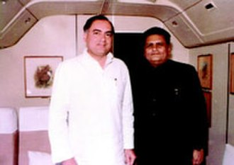 Santosh Mohan Dev - One of Rajiv Gandhi's (left) most trusted ministers