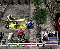 A combat scene set in a street, showing bipedal mechanical weapons in combat with enemy units. The move and attack type drain an energy metre for the controlled weapon.