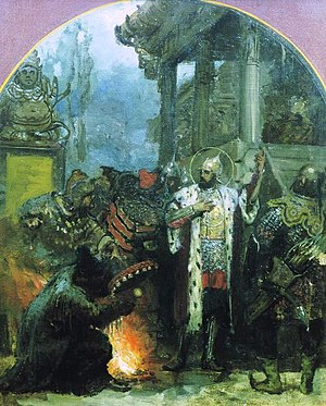 Religion in the Mongol Empire - Alexander Nevsky standing near Mongol shaman in the Golden Horde. Painting by Henryk Siemiradzki.