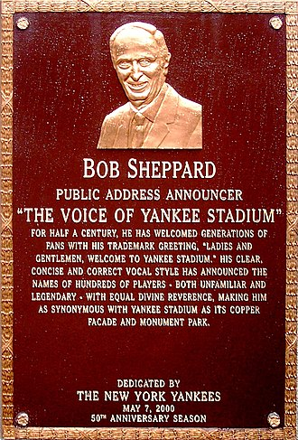 Bob Sheppard - Sheppard's plaque at Monument Park