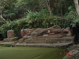 Bandhavgarh National Park - Statue of Shesh-Saiya at Bandhavgarh National Park