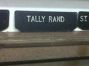 Levenshulme - Image: Sorting label for Tally Rand in Levenshulme