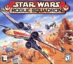 "A futuristic, ""x""-shaped aircraft participates in an aerial and land battle in blue skies above desert terrain; the game's logo appears above the craft."
