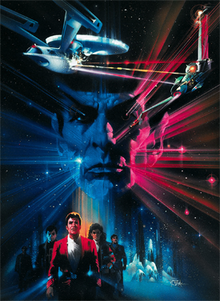 Dominating the center is the head of a man with arched eyebrows and pointed ears. At the edges, the head dissolves into the background of blue and magenta stars. Above, two starships fire multicolored bursts at each other. Below are three smaller figures, the front of which is a man with brown hair, wearing a red coat over a white shirt. The rest dissolve into the background.