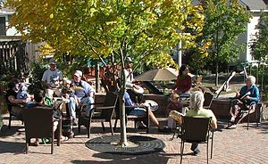 Sunward Cohousing - Social and musical gathering on the piazza