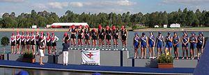 Loreto Kirribilli - Loreto 1st VIII receiving third place medals, Head of the River, 2007