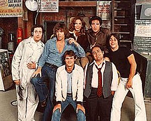 Taxi (TV series) - Cast of the debut season (ABC, 1978–79). From left to right: (back) Marilu Henner, Judd Hirsch; (middle) Andy Kaufman, Jeff Conaway, Tony Danza; (front) Randall Carver, Danny DeVito