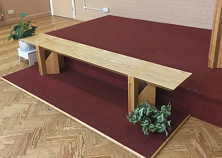 "The ""Mercy Seat"" in a Salvation Army citadel The Mercy Seat in a Salvation Army church London England.jpg"