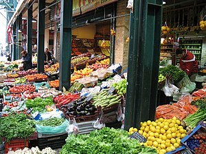 Thessaloniki's old market (Kapani), in the cit...