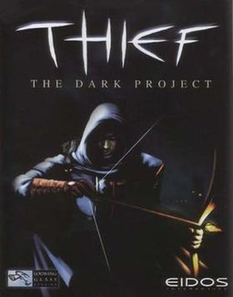 "In a dark area, a cloaked man holds a bow and pulls back on a notched, glowing arrow. Above him, the word ""THIEF"" is jaggedly written. Between the two are smaller, cleaner letters that read, ""THE DARK PROJECT""."