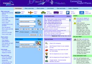 Transport Direct - Screenshot from the Transport Direct Portal