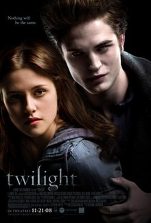 Twilight A Pale Young Man Fills The Top Left Of The Poster Standing Over A Brown