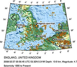 2008 England earthquake - Seismicity in the United Kingdom from 1990 to 27 February 2008