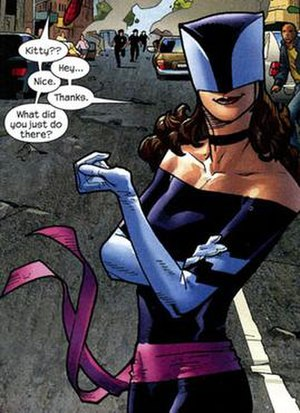 Alternative versions of Kitty Pryde - Ultimate Kitty Pryde, with the costume designed by Stuart Immonen in the Ultimate Spiderman comic book.