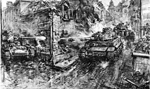 A pencil drawing of road intersection and three tanks; one tank fires, through a partially destroyed building, at another. The barrel of an anti-tank gun can be seen in the bottom right corner of the drawing.