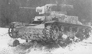 Battle of Honkaniemi -  A Vickers tank wreck