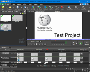 Screenshot of VideoPad Free 7.04 running on Windows 10, with a test project loaded.