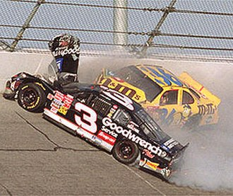 Death of Dale Earnhardt - The accident scene shortly after it began.  Dale Earnhardt's car has collected Ken Schrader.