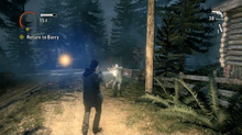 A screenshot of Alan Wake, showing the player's character aiming his flashlight and handgun at an enemy, in an exterior environment.