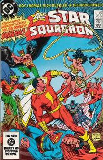 All-Star Squadron - The All-Star Squadron battling Captain Marvel. Art by Rich Buckler.