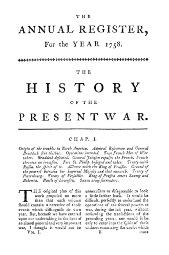 The Annual Register - The opening page of the first volume of The Annual Register.