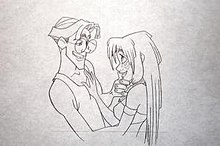 A penciled production sketch showing a man (Milo) on the left embracing a woman (Kida) on the right. A horizontal line is visible on the bottom of the page depicting a reference line for the CinemaScope frame of the drawing.