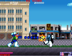 Bravoman - Bravoman (left) fighting against Black Bravo (Anti-Bravoman in the ShiftyLook webcomic and webtoon) (right) in the arcade version