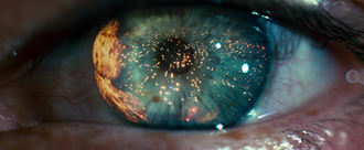 """Themes in Blade Runner - Eye reflecting the """"Hades"""" landscape."""