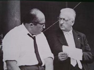 Carlo Chiti - Carlo Chiti (left) with Enzo Ferrari at Monza.