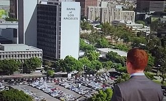 """Los Angeles Center Studios - Charlie Crews, the protagonist on the American Television serial Life, views the """"Bank of Los Angeles"""" from a nearby rooftop"""